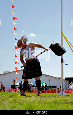 Sheaf Toss at the Scottish Festival Orange County Fairgrounds Costa Mesa, California. - Stock Photo