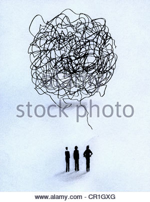 People communicating with speech bubble made from tangled lines - Stock Photo