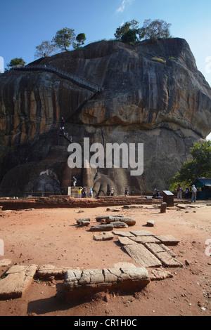 People climbing up Sigiriya (UNESCO World Heritage Site), North Central Province, Sri Lanka - Stock Photo