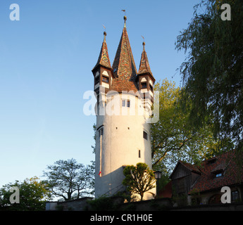 Diebsturm tower, Lindau on Lake Constance, Swabia, Bavaria, Germany, Europe, PublicGround - Stock Photo