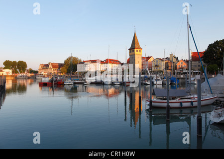 Harbour with Mangturn or Mangenturm tower, Lindau on Lake Constance, Swabia, Bavaria, Germany, Europe, PublicGround - Stock Photo