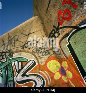 Graffiti on World War II bunker - Stock Photo