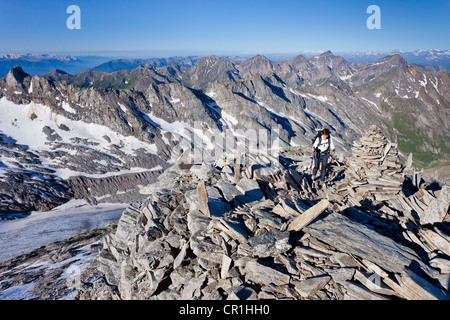 View while climbing Hochfeiler Mountain, overlooking the Pfitschertal, Eisacktal and Wipptal valleys and the Dolomites - Stock Photo
