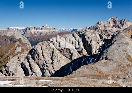 At the Bepi Zac via ferrata in the San Pallegrino valley, above San Pellegrino Pass or Passo San Pellegrino - Stock Photo