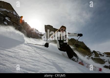 France, Savoie, Meribel, Val Thorens, off-piste skiing - Stock Photo