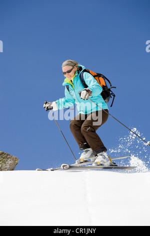 France, Savoie, Meribel, off-piste skiing - Stock Photo