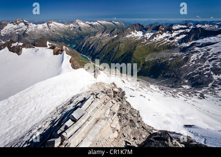 View from Mt Hochfeiler across the Pfitschertal valley, Zillertal valley and Schlegeisspeicher reservoir at back, - Stock Photo