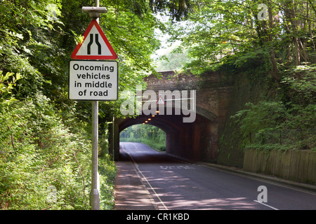 Road narrows road sign Oncoming vehicles in middle of road with low bridhe - Stock Photo