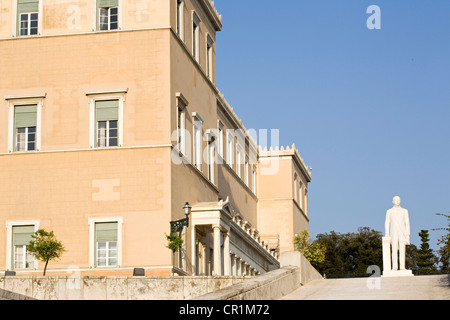 Greece, Attica, Athens, the Parliament is settled in the former King Othon I's palace built between 1836 and 1842 - Stock Photo