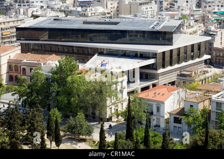 Greece, Attica, Athens, view from the Parthenon on the new Acropolis Museum by architect Bernard Tschumi inaugured - Stock Photo
