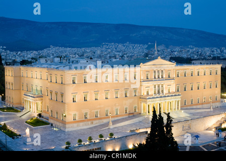 Greece, Attica, Athens, view from the Hotel Grande Bretagne terrace on the Parliament settled in the former King - Stock Photo