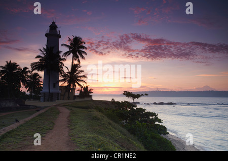 Lighthouse in the Fort at dawn, Galle, Southern Province, Sri Lanka - Stock Photo