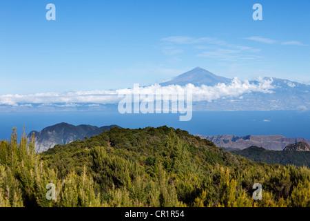 Garajonay National Park, view from Garajonay mountain, highest peak of La Gomera island, Tenerife island with Mount - Stock Photo