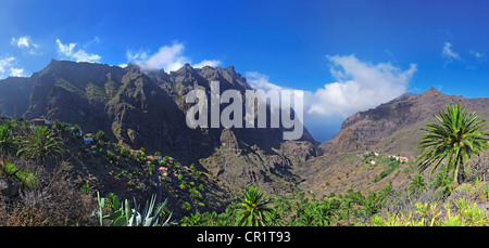 Barranco de Masca gorge with the Masca village, Tenerife, Canary Islands, Spain, Europe - Stock Photo
