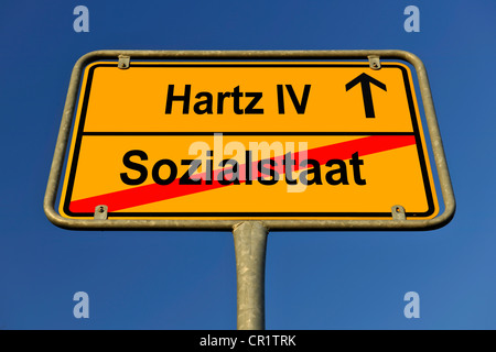 City limit sign, symbolic image in German for the incompatibility of a welfare state and Hartz IV