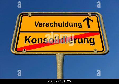 City limit sign, symbolic image for the way from a Konsolidierung to Schulden, German for going from a consolidation to having