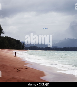 Plane flying over tropical beach - Stock Photo