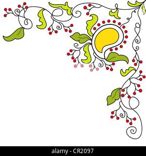 Artistic yellow mango paisley pattern on white - Stock Photo