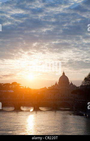 St Peters Basilica and bridge on canal - Stock Photo