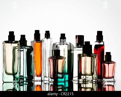 Close up of perfume bottles - Stock Photo