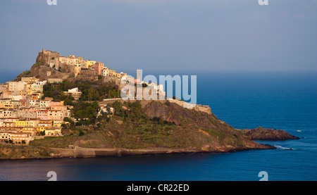 Aerial view of village on hillside - Stock Photo