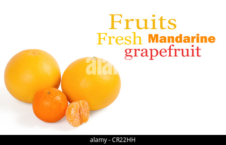 Fresh citrus fruit on a white background - Stock Photo