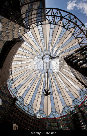 Low angle view of ornate glass ceiling - Stock Photo