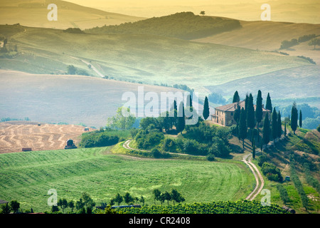 Aerial view of house in rural landscape - Stock Photo