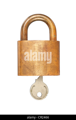 An old USN (United States Navy) brass lock and key isolated on white. - Stock Photo