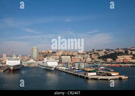 Cruise ships docked in urban pier - Stock Photo