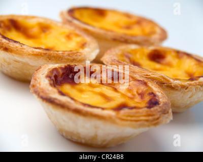 Close-up of typical portuguese dessert pastry Pastéis de Nata - portuguese egg custard tart - Stock Photo