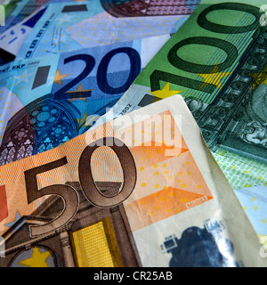 Euros - close up of a pile of different denomination Euro notes