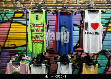 T-shirts on display on Khao San Road, Bangkok, Thailand. - Stock Photo