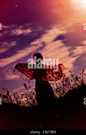 a woman standing on a lawn with a red cloth against light - Stock Photo