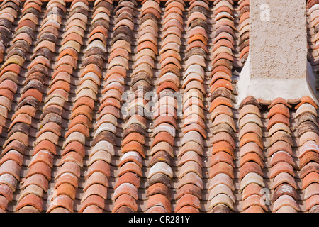 Traditional warm coloured terracotta tiling on a roof in SW France - Stock Photo