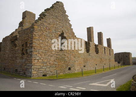 Birsay Orkney Islands West Mainland Scotland May Ruins of Earl's Palace built by Earl Robert Stewart in 16thc Scheduled - Stock Photo