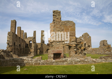 Birsay Orkney Islands West Mainland Scotland May Ruins of Earl's Palace built by Earl Robert Stewart in 16thc - Stock Photo