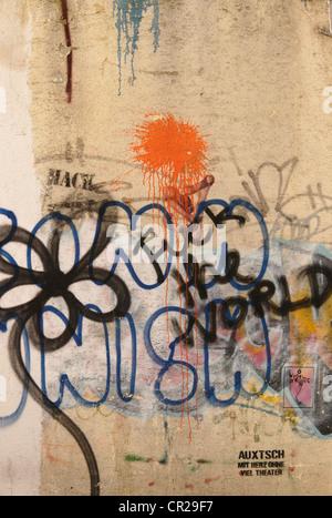 illegal graffiti scene in germany - Stock Photo