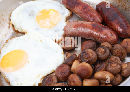 Eggs sausages and mushroom in a frying pan - Stock Photo