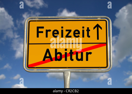 German road sign graduation and leisure with blue sky and white clouds - Stock Photo