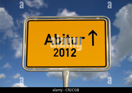German road sign traffic Graduation 2012 with blue sky and white clouds - Stock Photo