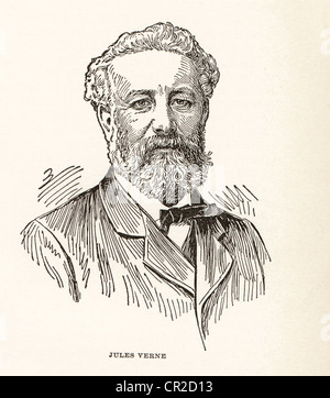 Vintage engraving of Jules Verne, French writer, 1828-1905. - Stock Photo