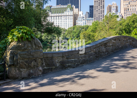 Central Park, New York City Gapstow bridge in early morning - Stock Photo