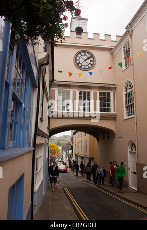 Clock tower on the east gate between high street and fore street in Totnes Devon UK. - Stock Photo