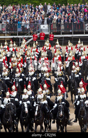 Trooping The Colour 2012  Blues and Royals of the Household Cavalry, Horse Guards Parade, London, UK - Stock Photo
