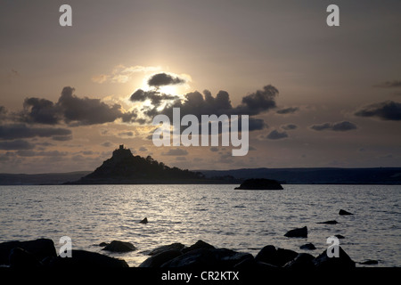 Sunset over St. Michael's Mount, Cornwall - Stock Photo