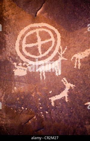 Anasazi petroglyphs, Newspaper Rock State Historic Site, Canyonlands National Park, Utah - Stock Photo