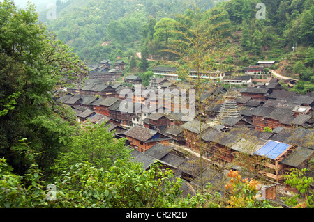 Zhaoxing Dong Village roofs seen from above, Southern China - Stock Photo