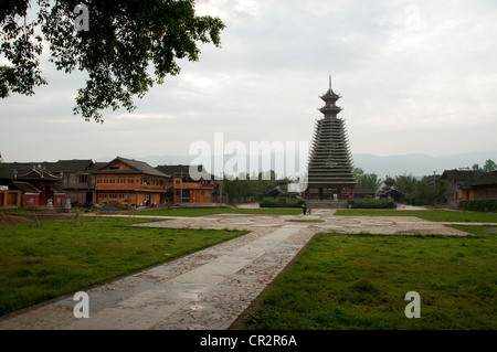 Main Drum Tower and its flight of steps, Chejiang Dong Village, Southern China - Stock Photo