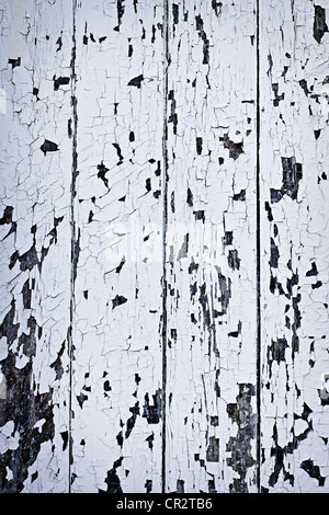 Background of old wood boards with peeling paint - Stock Photo